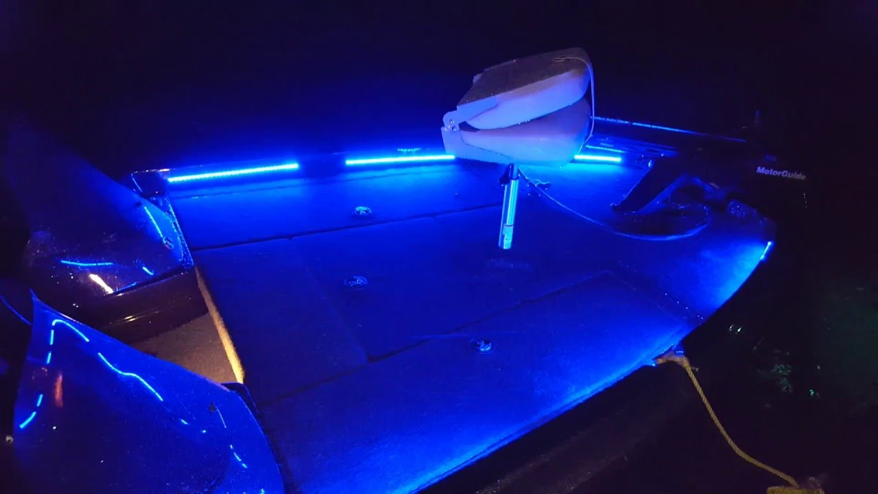 Bass boat led light system at night on the water youtube for Best light for night fishing