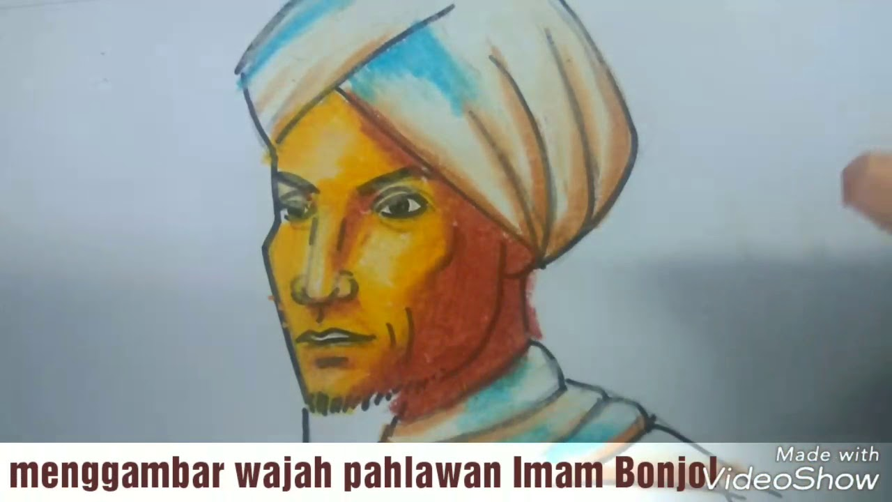 Menggambar Dan Mewarnai Wajah Pahlawan Nasional Imam Bonjol Dengan