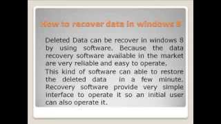 windows 8 Data Recovery