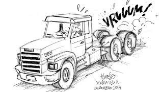 Desenhando um Caminhão Scania 113 por Tiburcio