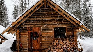 Arriving At The Cabin In A Blizzard/Cold Night: OFF GRID LOG CABIN