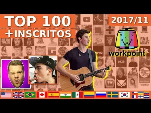 Top 100 rs com MAIS INSCRITOS do Mundo novembro  ShawnMendesVEVO whinderssonnunes