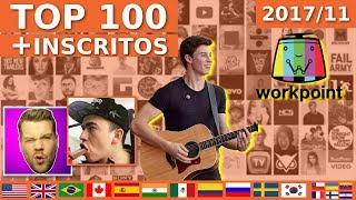 Top 100 Youtubers com MAIS INSCRITOS do Mundo (novembro 2017) ShawnMendesVEVO, whinderssonnunes