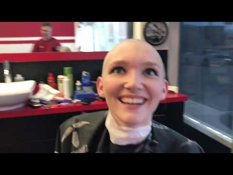 TA77.net YouTube Original - Erica LV (2017) Erica shaves her head with a razor at a barbershop