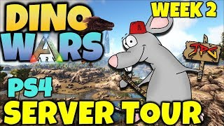 ARK DINO WARS WEEK 2 SERVER TOUR! CATCH UP