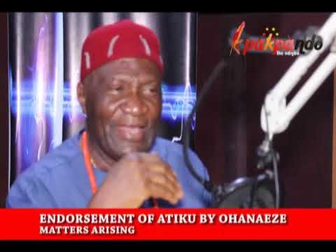 OHANAEZE NDIGBO: WHY WE ENDORSED ATIKU AND OBI - CHIEF JOHN NNIA NWODO
