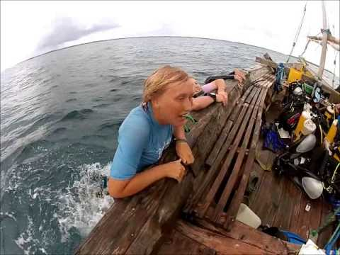 How to get back on the boat after diving by Tanzania Marine volunteers
