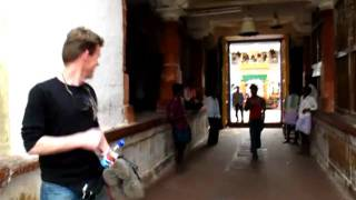 Banashankari Amma Temple - Boys make sound with bell to wake up God