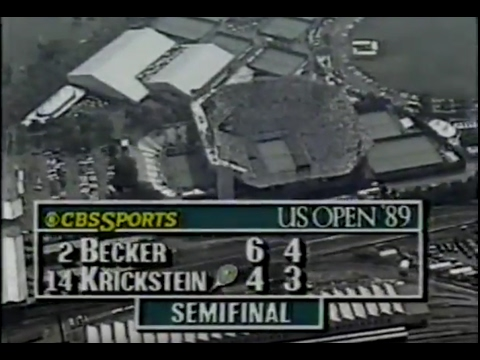 VHSrip - 1989 US OPEN TENNIS semi finals; Agassi, Lendl, Becker, Krickstein.