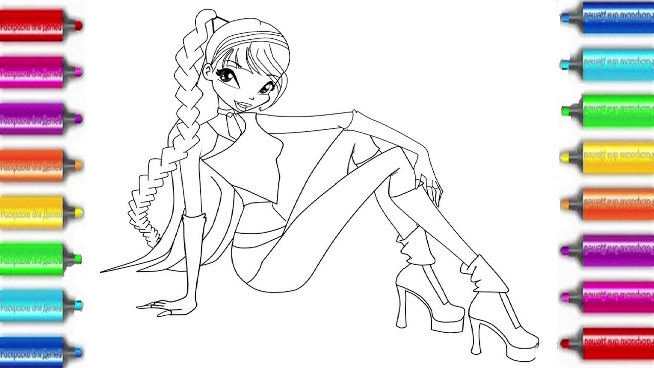 Winx Club Musa colouring page for kids Раскраска Bинкс ...