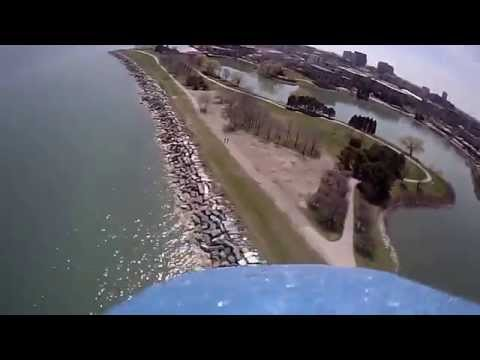 Flying RC model on the shore of Evanston