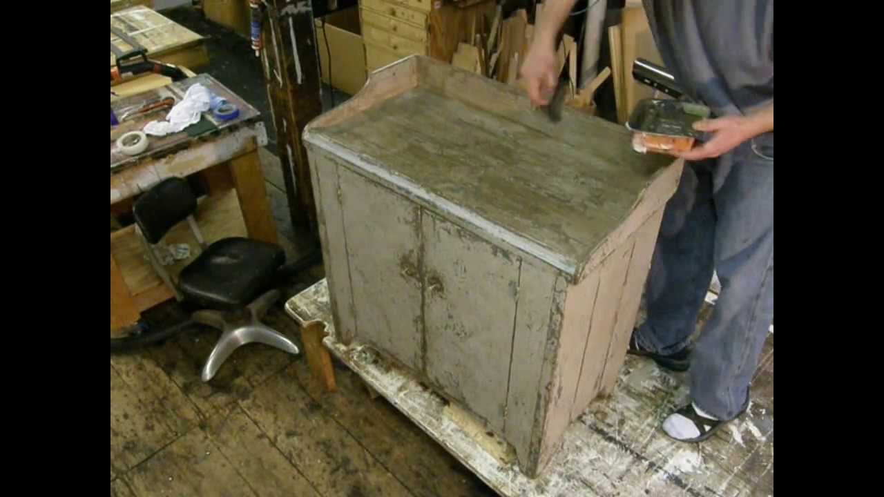 Antique Dry Sink Reproduction   Distressed Paint Finishing   YouTube
