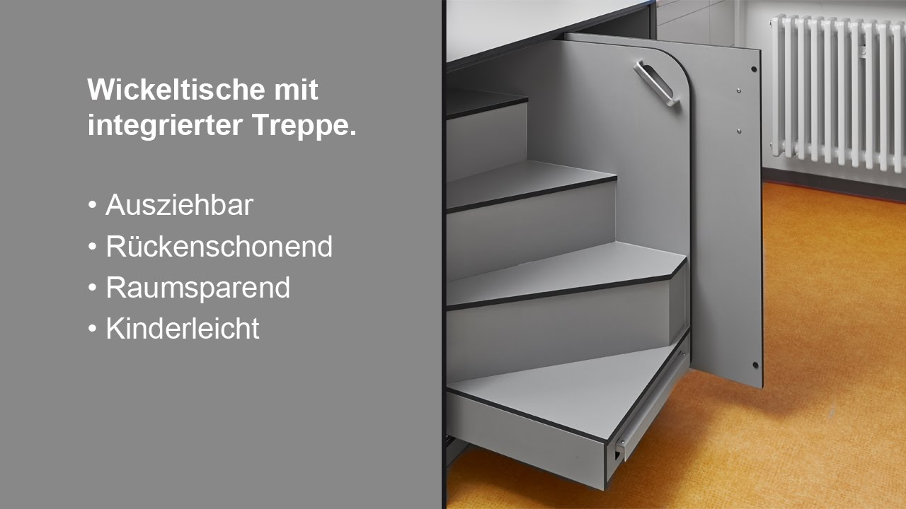 sch fer trennwandsysteme wickeltisch mit integrierter treppe youtube. Black Bedroom Furniture Sets. Home Design Ideas