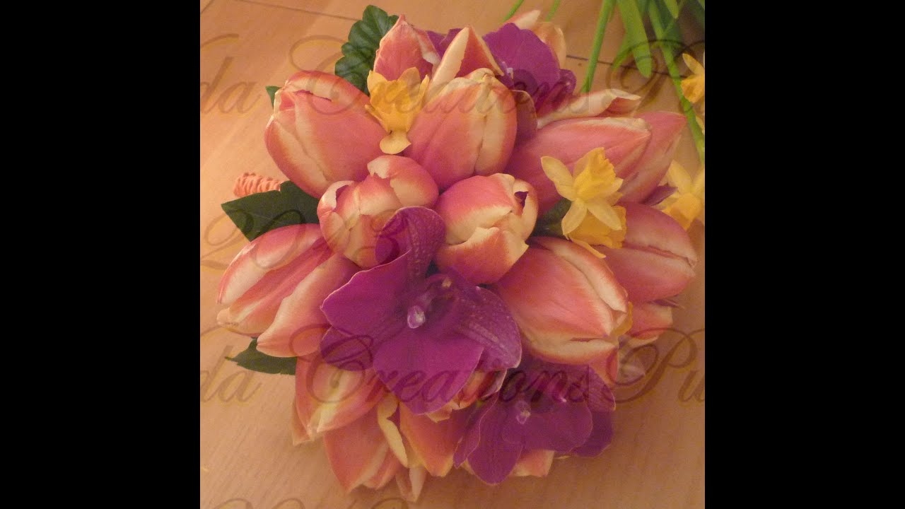 DIY Ramo de novia con tulipanes y orquideas con técnica de enlambrado , YouTube