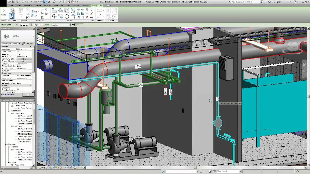 Revit Mep 2012 New 3d View Locking And Tagging Youtube