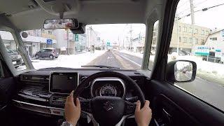 【Test Drive】 2017/2018 New Suzuki Spacia Custom Hybrid Turbo 4WD - POV City Drive