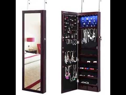 SONGMICS Lockable Jewelry Cabinet Wall Door Mounted YouTube