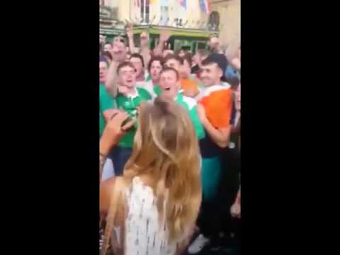 Hundreds of Ireland Fans Serenade French Girl