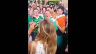 Hundreds of Ireland Fans Serenade French Girl