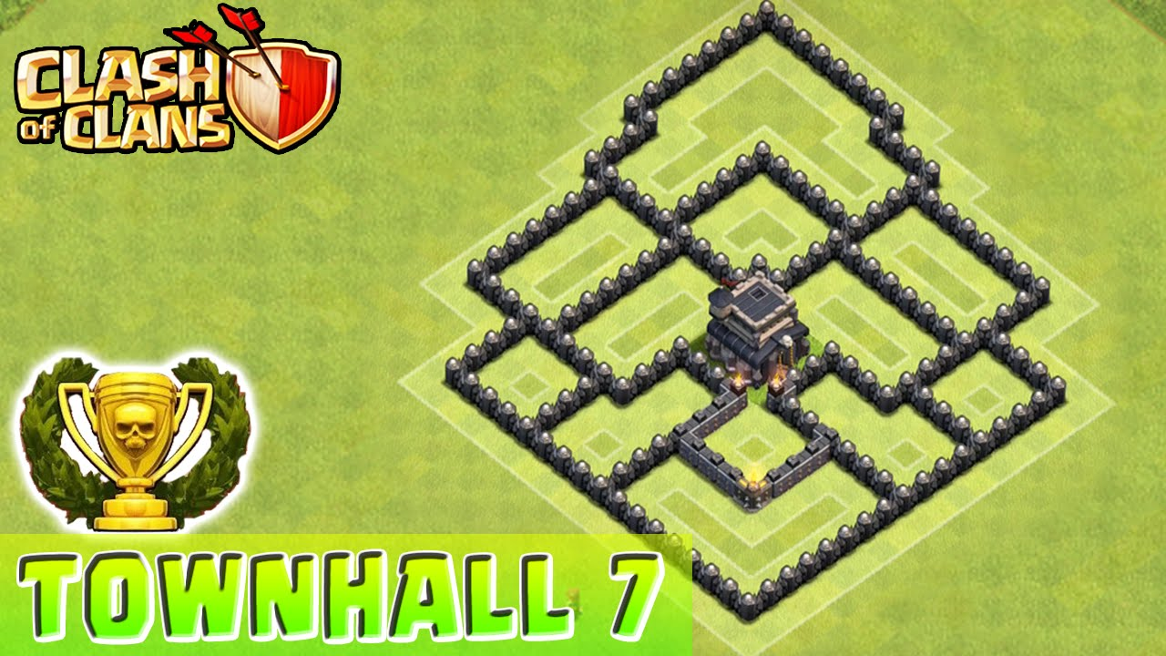 Clash Of Clans Defense Strategy Townhall Level 7 Base Layout Coc Th7 Defensive Strategy Youtube