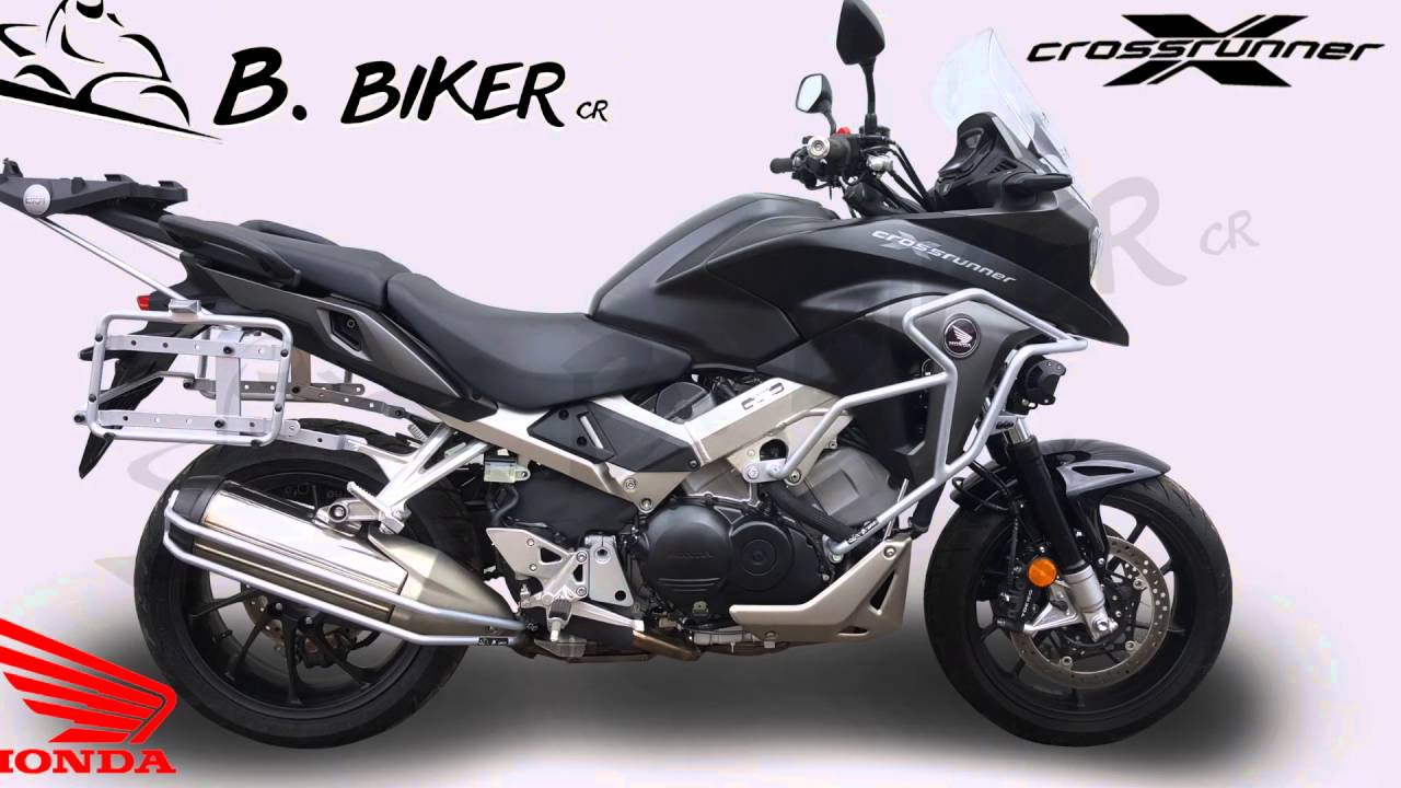 Honda Crossrunner 800 (VFR) crash bar and GIVI topcase racks - YouTube