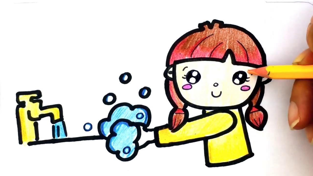 Cara gambar Anak Cuci Tangan - Belajar gambar Untuk anak ...