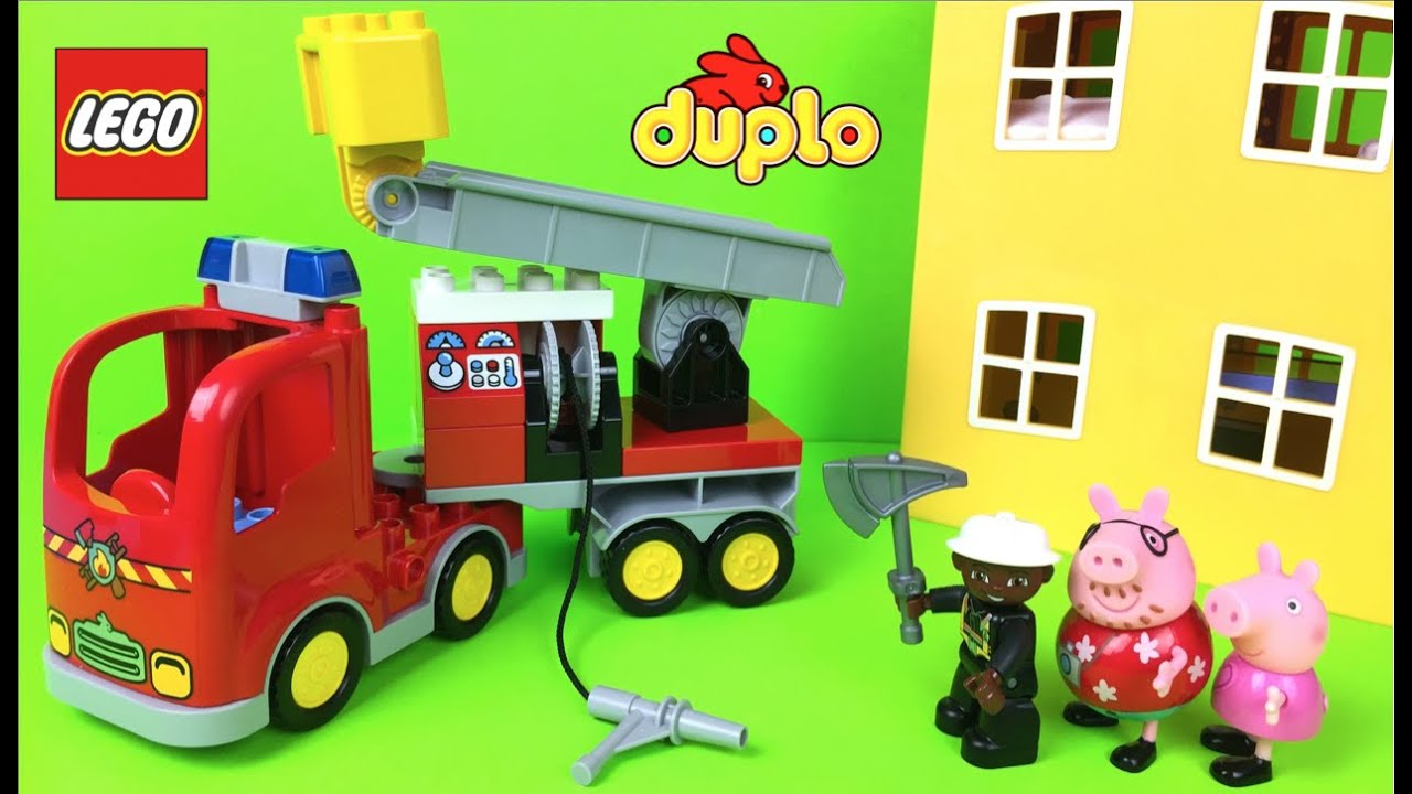 Lego duplo firetruck preschool 2 5 building toys rescue trucks for kids fire engine with peppa pig youtube