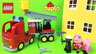 Lego Duplo Firetruck Preschool 2-5 Building Toys Rescue trucks for kids fire engine with Peppa Pig
