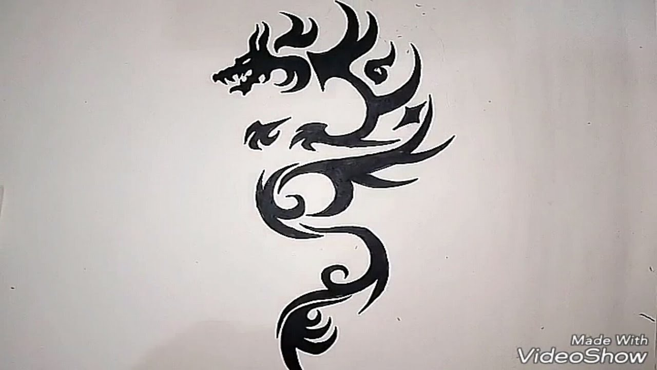 How To Draw A Tribal Dragon Tattoo  Easy Method  Madmaxx Production
