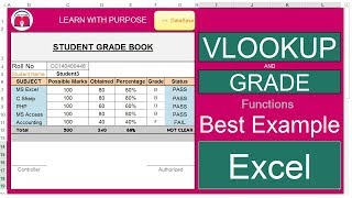 VLookUp AND Grade FUNCTIONS Best EXAMPLE with GradeBook ||MarkSheet in EXCEL