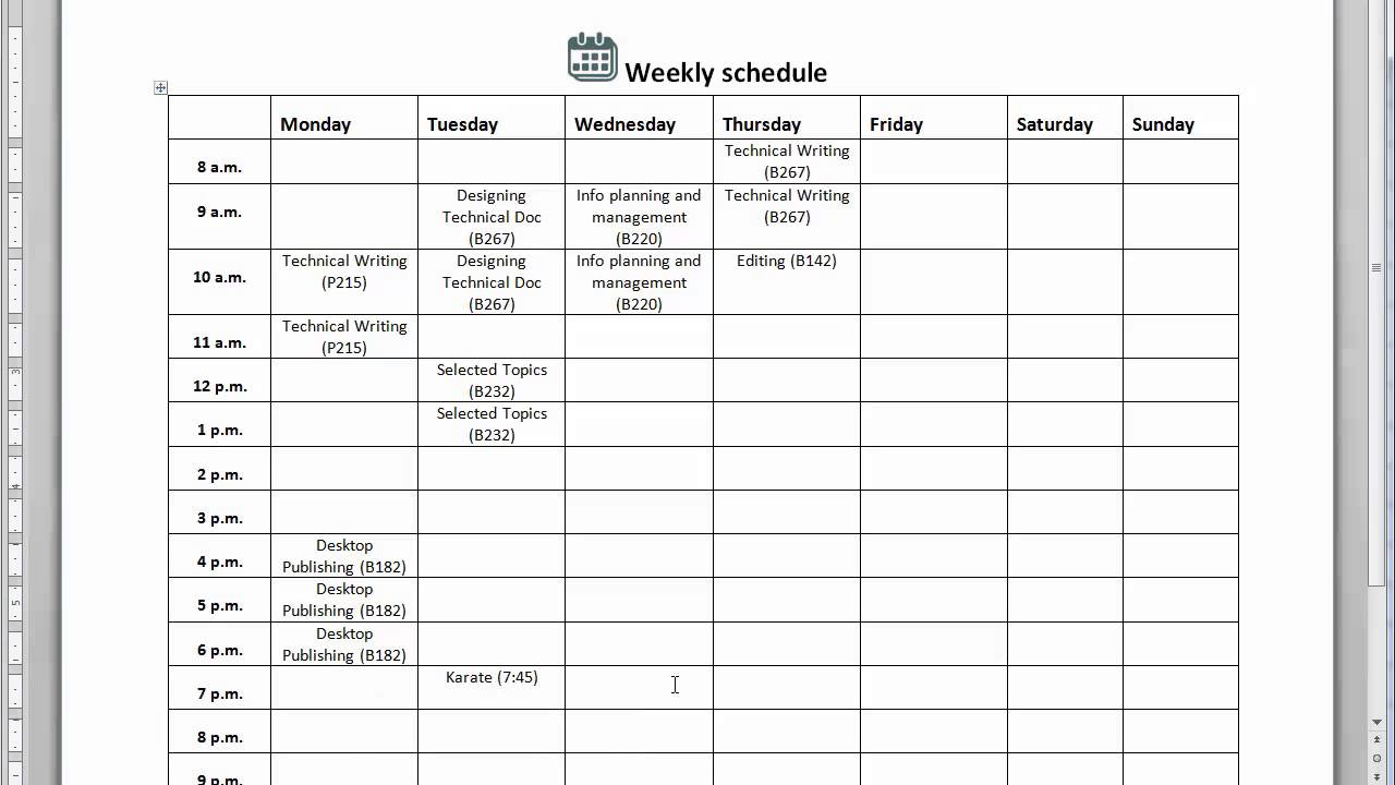 weekly scheduale