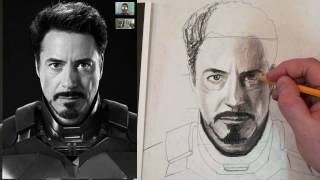 How to Draw Iron Man Tony Stark Step by Step Charcoal and Fixative Tutorial