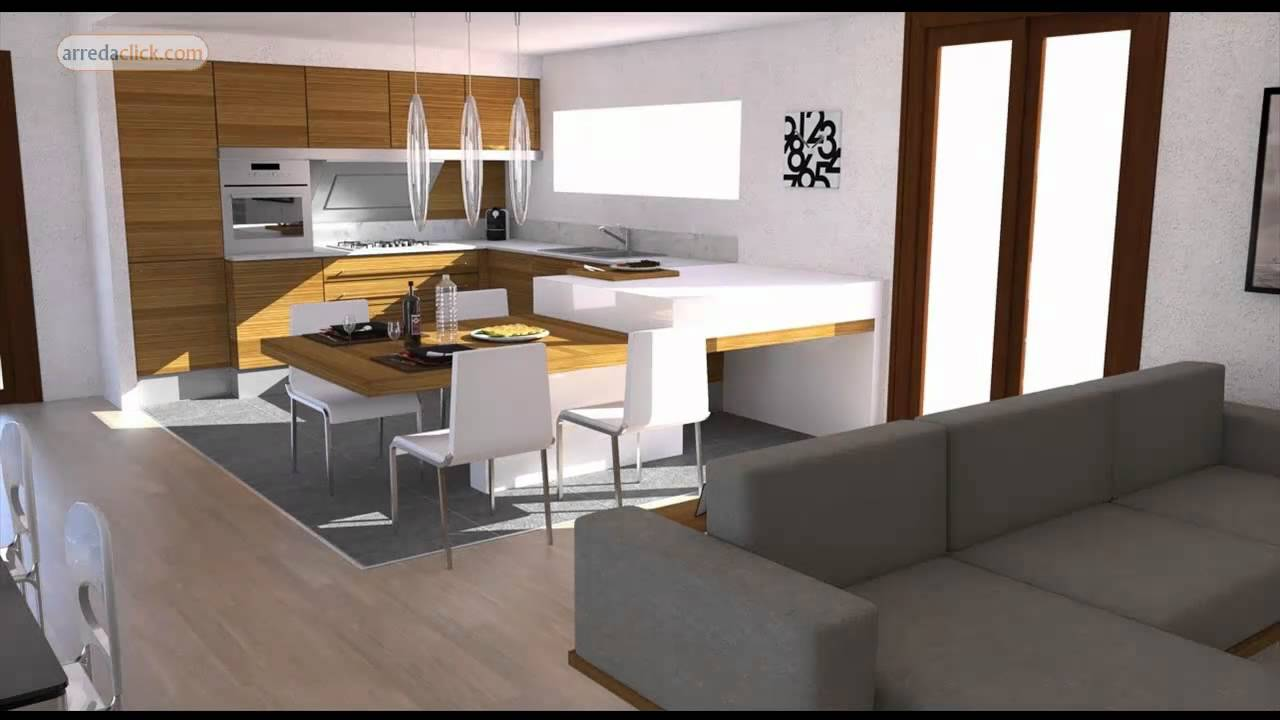 Progettazione di interni 3d bilocale moderno youtube for Case moderne interni