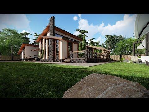Проект одноэтажного дома с мансардой, гаража и бани в одном комплексе