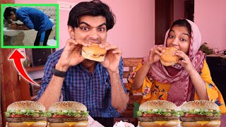 GONE WRONG..🤮 NEVER EXPECTED THIS..🥺 BURGER EATING CHALLENGE BECAME HEAVY..😭