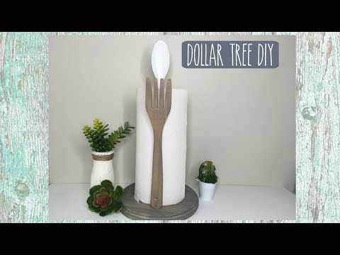 DOLLAR TREE DIY FARMHOUSE PAPER TOWEL HOLDER | HOME DECOR