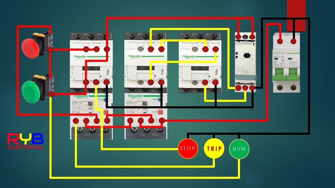 star delta starter control circuit    diagram      star delta connection  YouTube