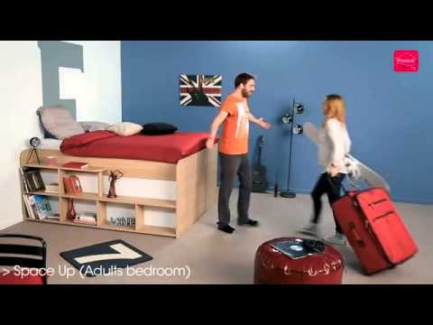 parisot space up hochbett stauraumbett youtube. Black Bedroom Furniture Sets. Home Design Ideas