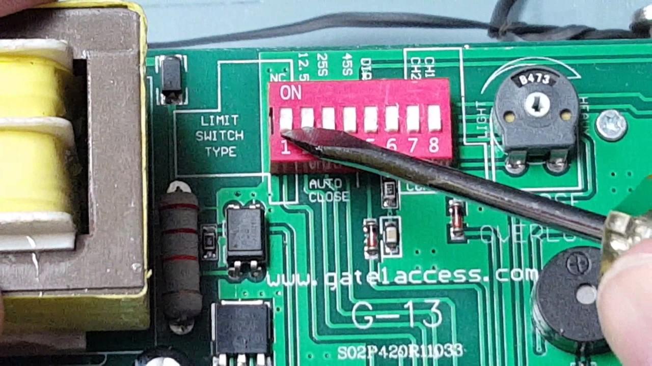 Gate1 174 Ga2000 Slide Gate Opener Dip Switch Setting Youtube