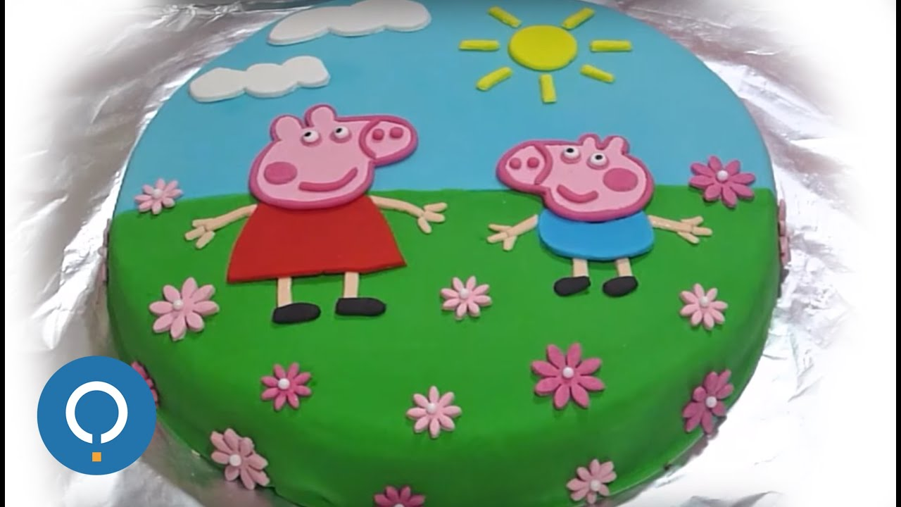 Peppa Pig Birthday Cake Decorating With Fondant Youtube