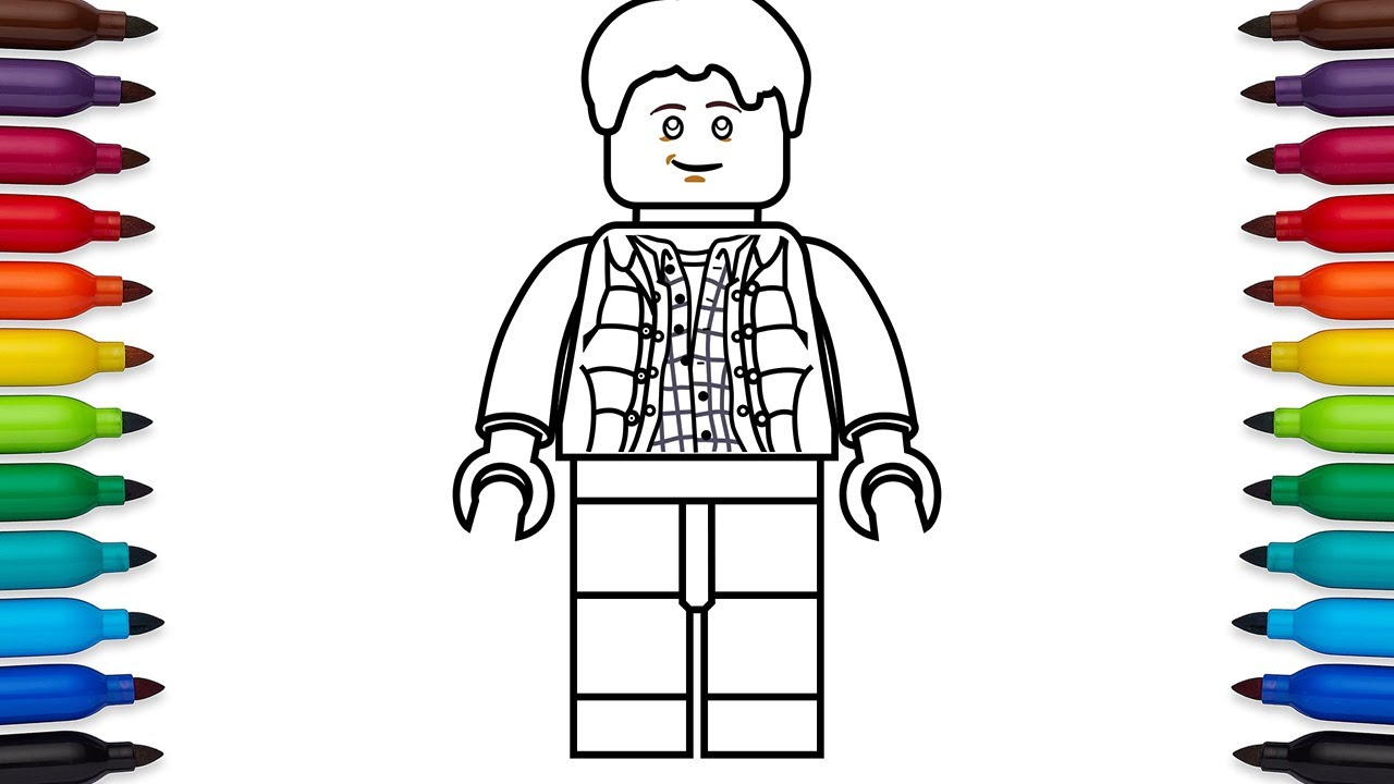 How to draw Lego Marty McFly from