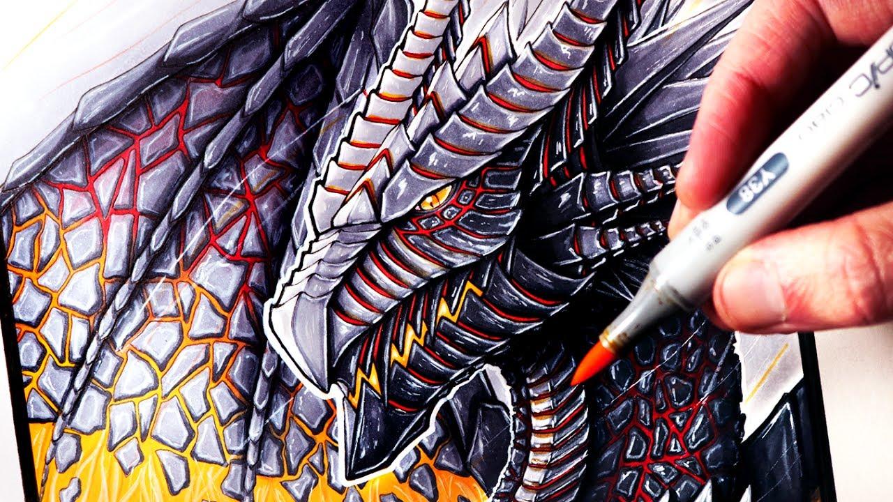 Let's Draw a LAVA DRAGON - FANTASY ART FRIDAY - YouTube