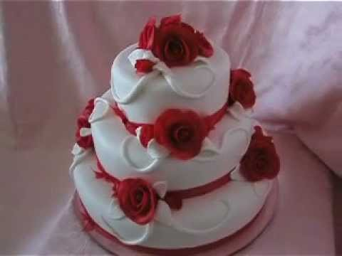 white wedding cake and red roses b    l     svatebn     dort s     erven    mi     white wedding cake and red roses b    l     svatebn     dort s     erven    mi r        emi    YouTube