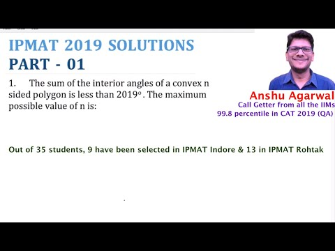 IPMAT QUESTION PAPER 2019 PART 01 | IPMAT 2020 Preparation