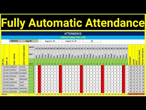 Excel - Fully Automatic Attendance Sheet