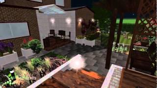 Split Garden Design At Night - Woodlesford, Leeds - Pmn Landscape Designs Ltd