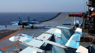Su-33 and MiG-29KR in action - Admiral Kuznezov 11.2016 (Syria)