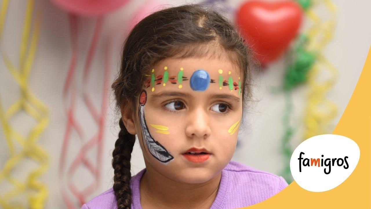 Videoanleitung Kinderschminken Indianer Famigros