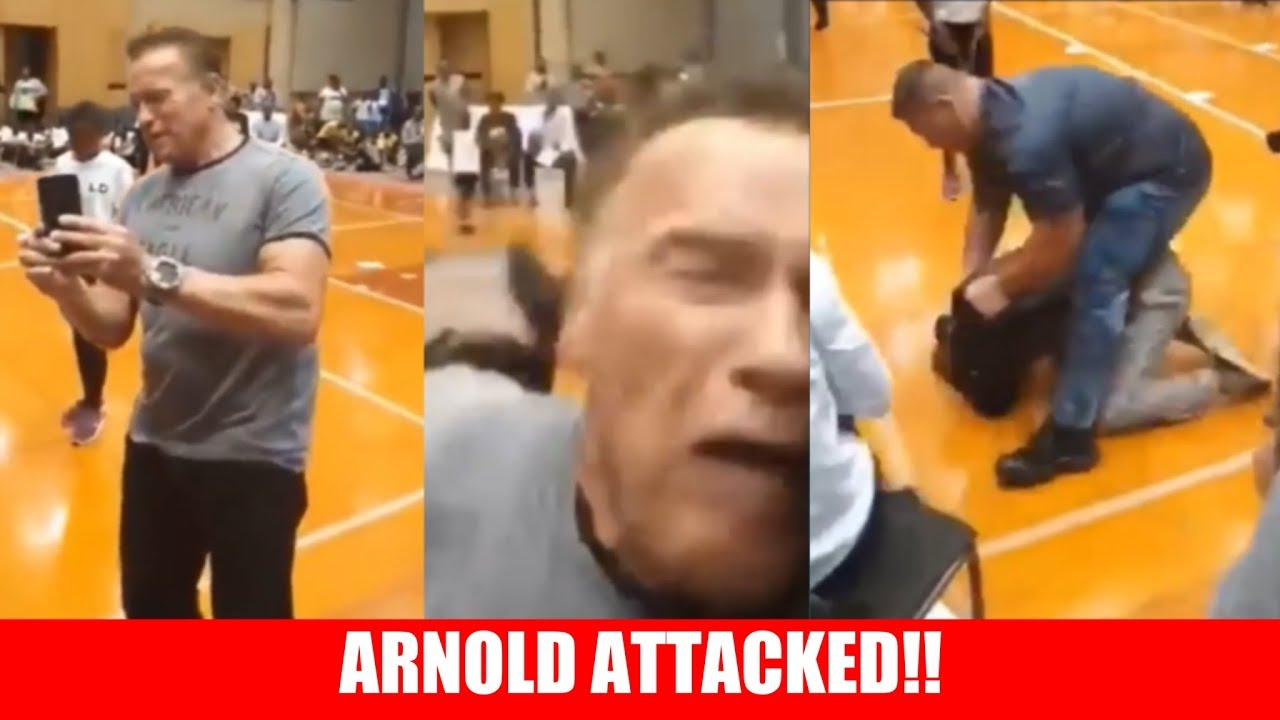 Arnold Schwarzenegger drop-kicked while taking selfie in