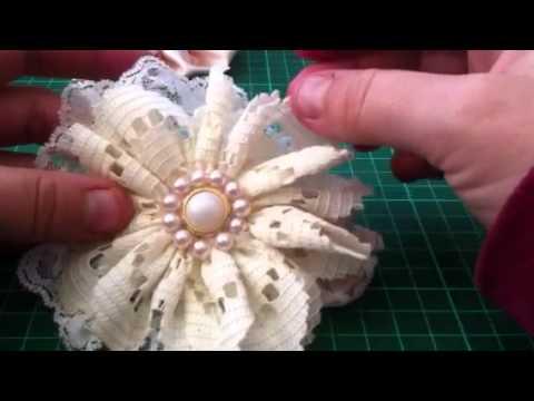 shabby chic vintage lace fabric flowers youtube rh youtube com
